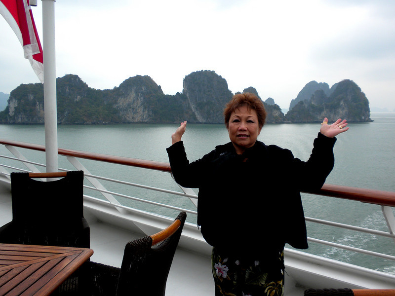 "Halong Bay (""Descended Dragon Bay,""  下龍灣), Vietnam - Beverly on the cruise ship Azamara Quest"