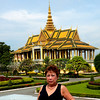 Phnom Penh, Cambodia - a scene at the Royal Palace, Beverly at the fore ground