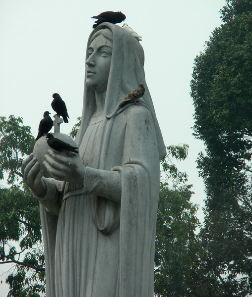 Hanoi, Vietnam - statue in front of Notre Dame Cathedral