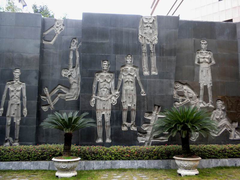 "Hanoi, Vietnam - Mural at the ""Hanoi Hilton,"" which was a prison used by the French during the colonial days to imprison and torture rebels.  It was used as POW camp for captured U.S. air crew members, including the future Senator John McCain."