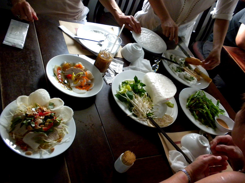 Hanoi, Vietnam - how our lunch in a restaurant looked, before it was demolished