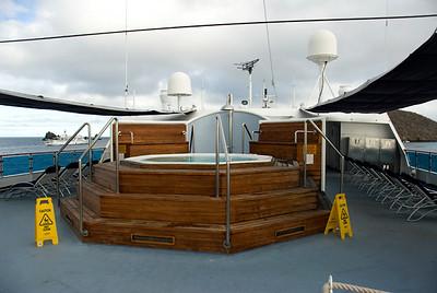 Galapagos Trip - Galapagos, Floreana Island, Cormorant Point<br /> Xpedition, deck 6 hot tub area