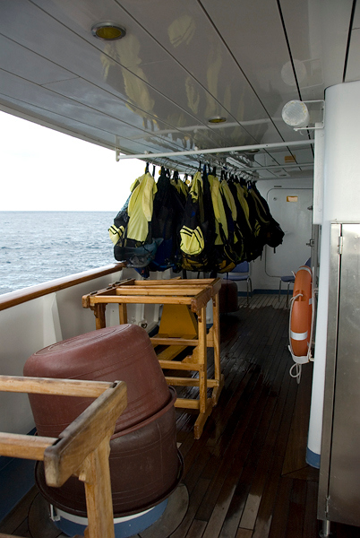 Galapagos Trip - Galapagos, Floreana Island, Cormorant Point<br /> Xpedition, deck 3 snorkeling equipment storage