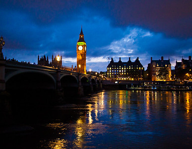 Big Ben at night over the Thames river