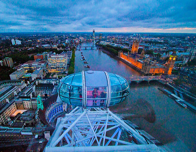 "view of London at dusk from the ""London Eye"""