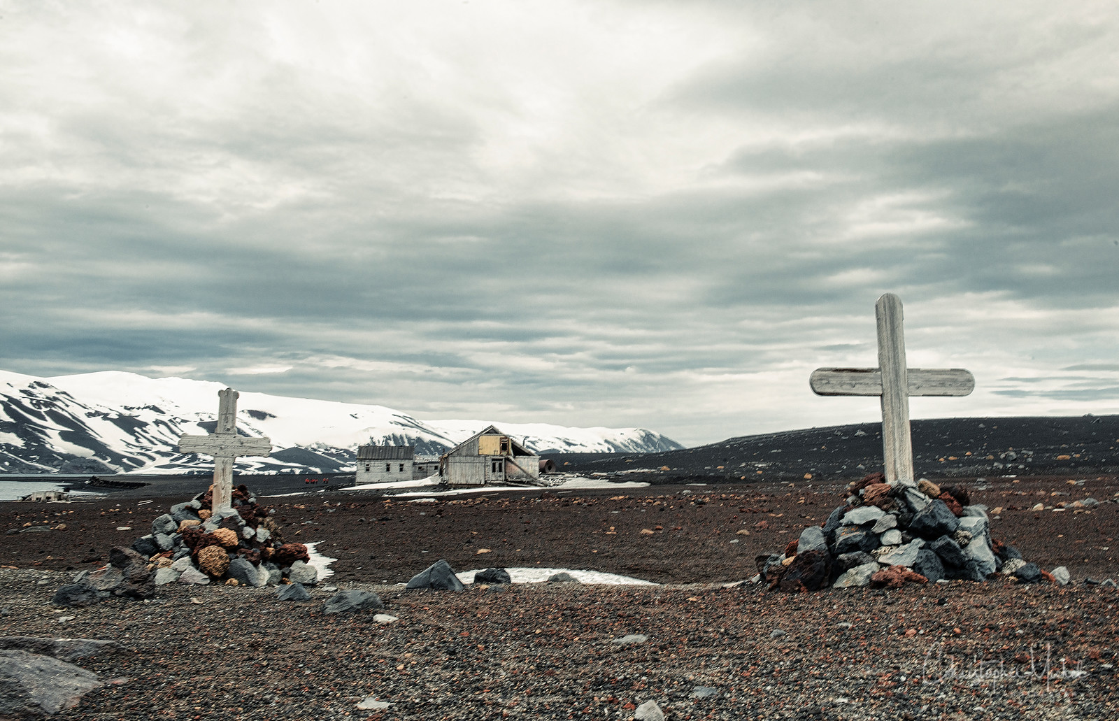 The graves of two whalers on Deception Island, Antarctica.