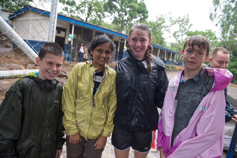 Wet students arriving at the school.