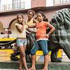 Three Cuban girls pose
