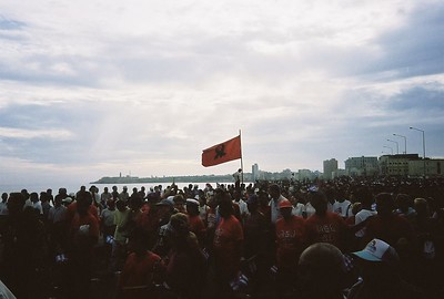 1.2 million people march along the Malecón in June 2002 in protest against George W. Bush's call for a change in Cuba's government system