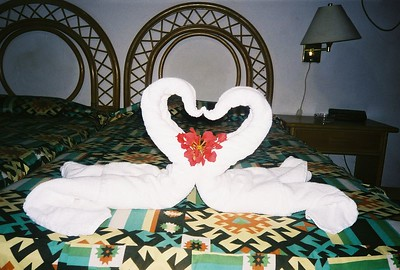 Welcoming sight in a room in a tourist inn in Santa Clara
