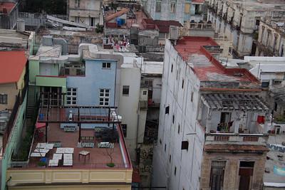 Side by side patios in downtown Havana.