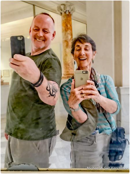 Twin Selfies in Mirror