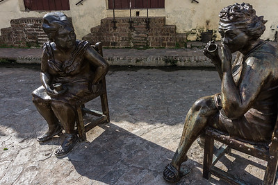 More of the gossiping ladies statues in Carmen Square, Camaguey