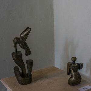 Two of the intriguing scupltures by Eduardo Rosales.