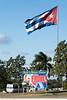 Flag and billboard for Fidel Castro next to the Che Guevara Mausoleum in Santa Clara, Cuba