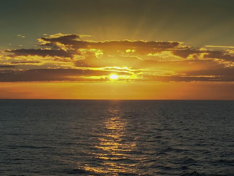 Morning sun at sea