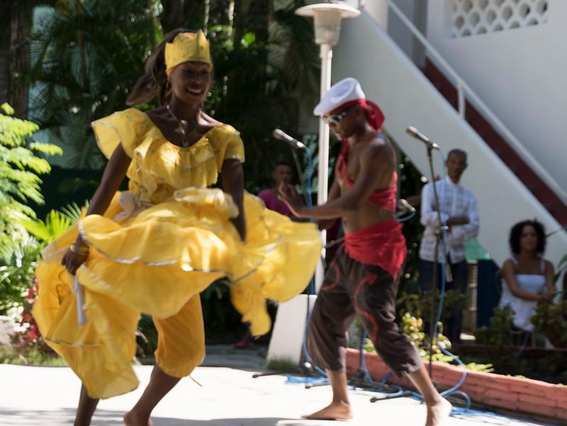 Dancers, African Heritage Institute, Santiago de Cuba, one wearing Patrick's cap