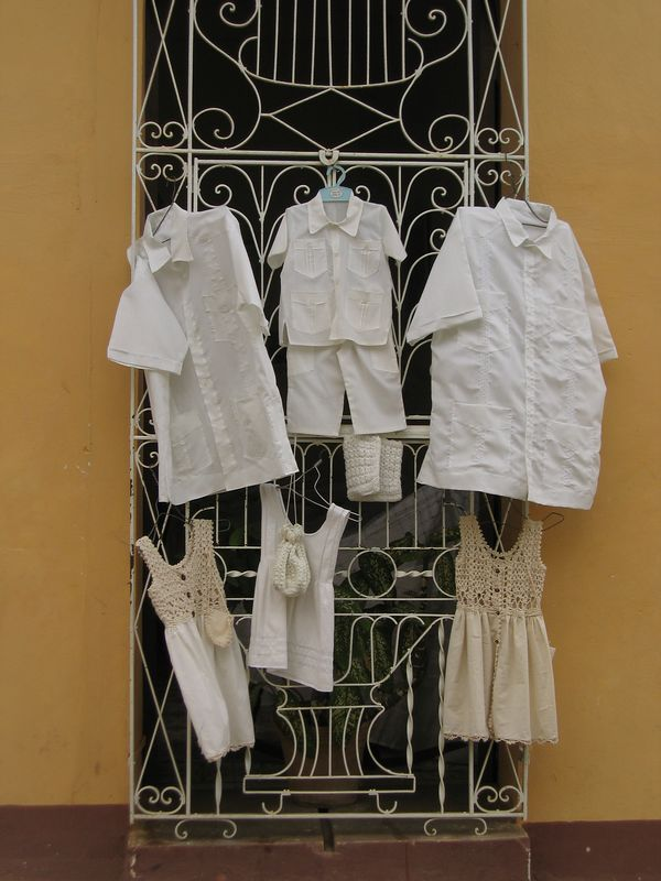 Classic white shirts on doorway in Trinidad, Cuba
