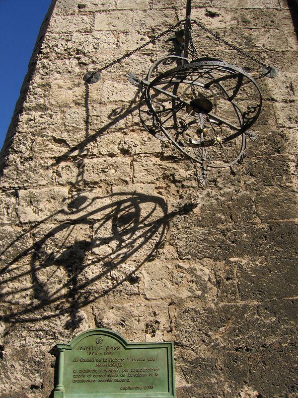 Stone church building and metal sculpture in Havana Cuba