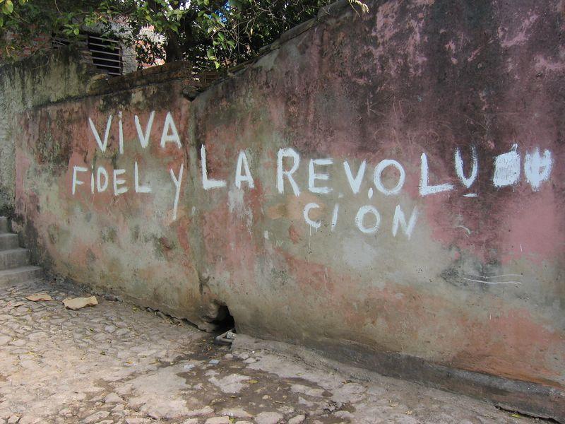 Viva Fidel Y La Revolucion wall mural in Trinidad, Cuba