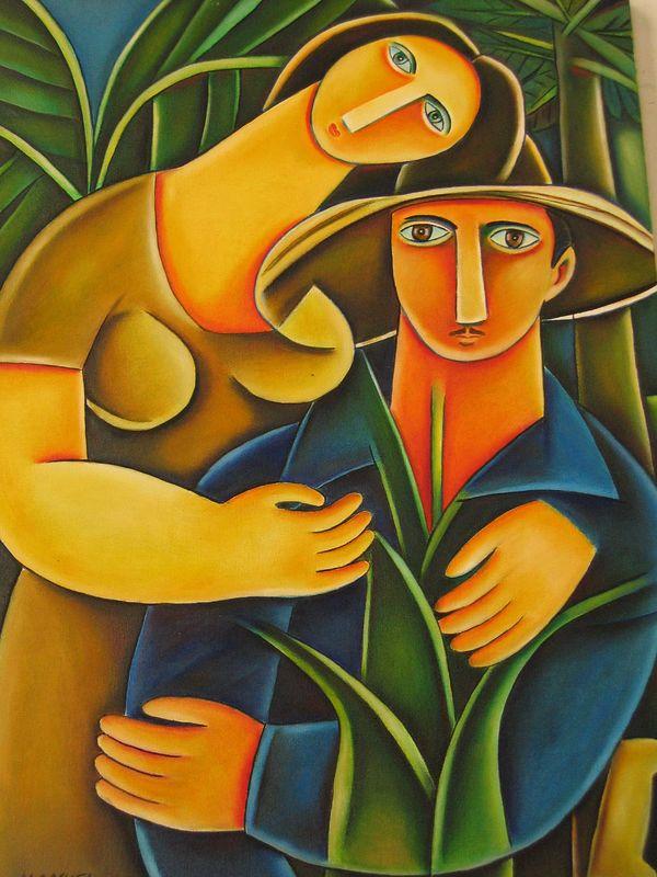 Cuban farmers painting in Havana, Cuba
