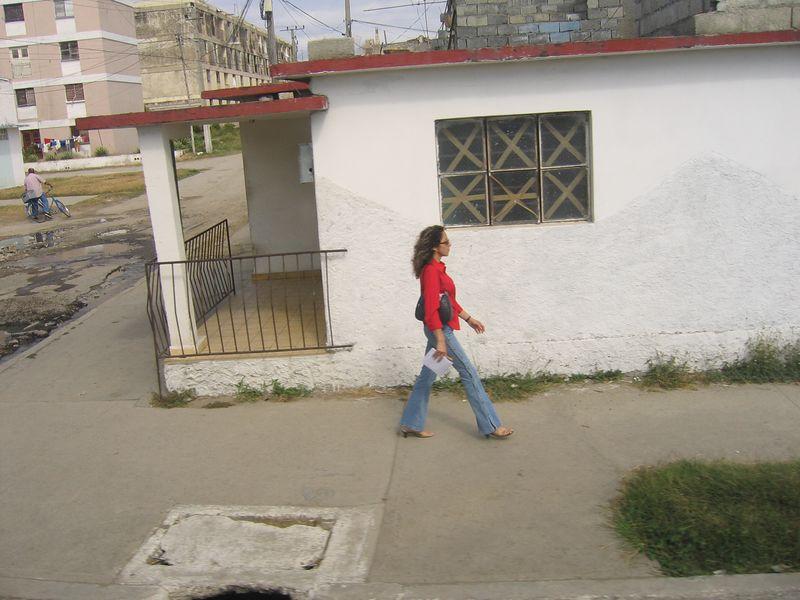 Cuban woman walking in the streets