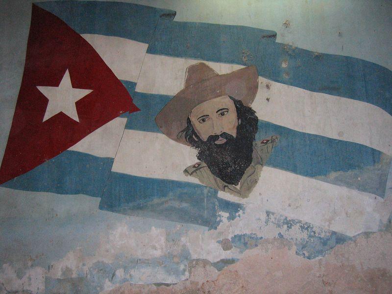 Wall mural of Fidel Castro and Cuban Flag in Havana Cuba