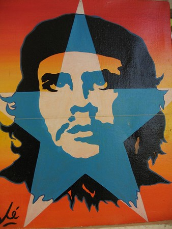 Che Guevara poster with star in Havana, Cuba