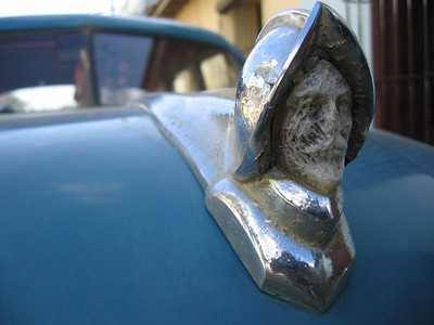 Colombus explorer car hood ornament in Trinidad Cuba