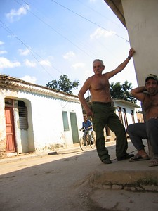 Old man without shirt in Trinidad, Cuba