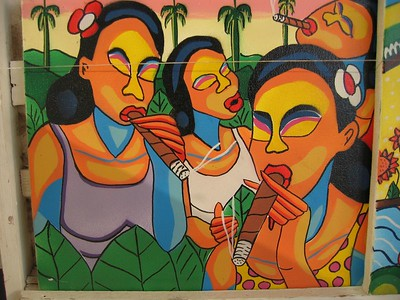 Three women smoking cigars painting in Cuba