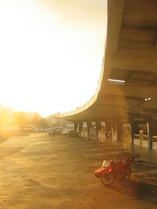 Bus station by sunrise in Havana, Cuba