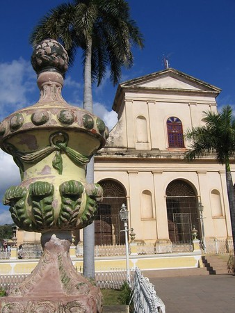 Town square view of church in Trinidad, Cuba