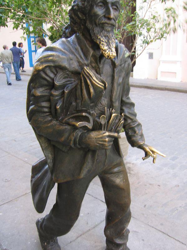 Metal sculpture of man in Havana Cuba