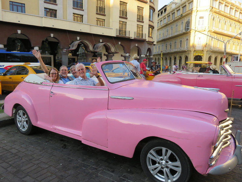 Setting out for a drive on the Malecon on our final evening in Havana.