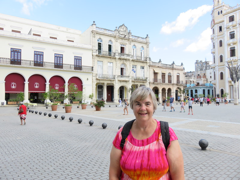 Susan in the Plaza Viejo in Old Havana.  Unlike much of the rest of Havana which is very rundown, this area has been heavily reconstructed for tourism.