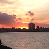View of Havana's  waterfront, the Malecon, at sunset.