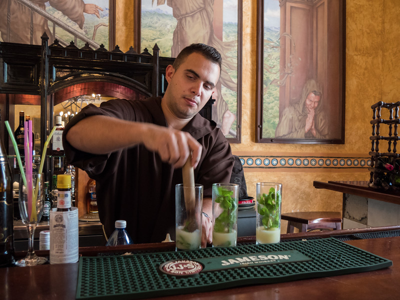 "Monks make the best Mojitos at the Hotel Los Frailes, ""Monk Hostel"",  Old Havana, Cuba, June 2, 2016."