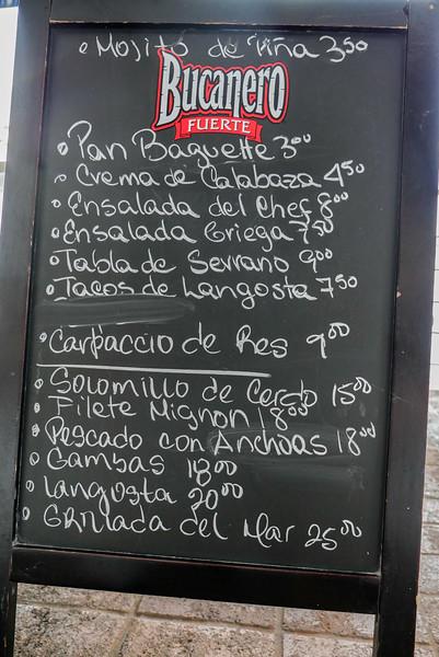 Rio Mar menu, Havana, Cuba, June 2, 2016.