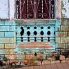 Blue walls, wrought iron, Trinidad
