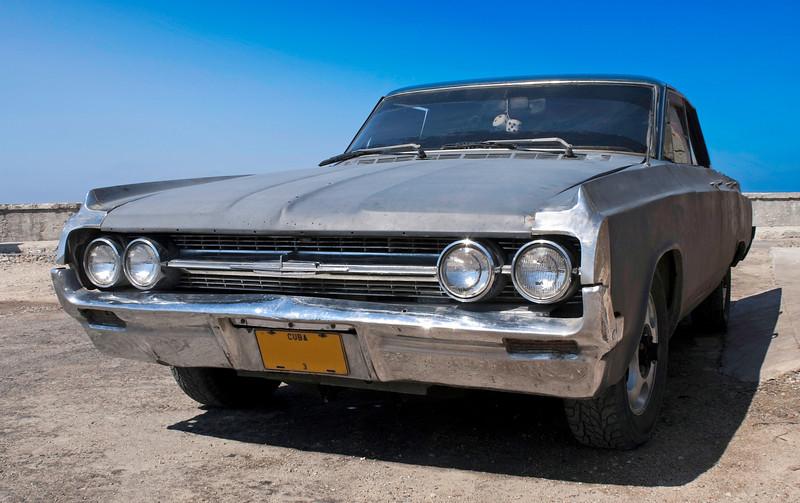 Frontal view of a Classic American car at Havana Cuba.