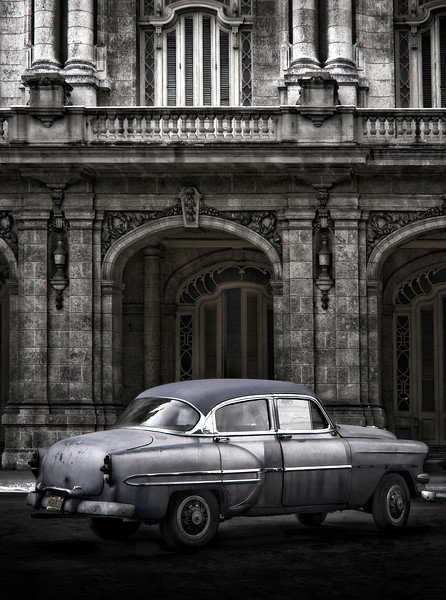 HDR image of a classic American car at old Havana, Cuba.