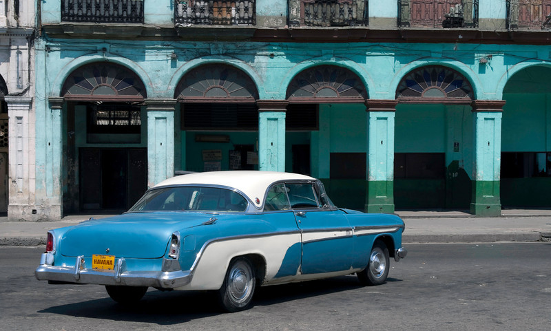 Classic American Convertible Car at Old Havana, Cuba.