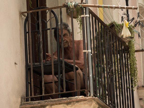 Unhappy man.  Calle de Los Mercaderes,  Havana, Cuba, June 2, 2016.