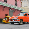 50's car in motion, Havana, Cuba, June 11, 2016.