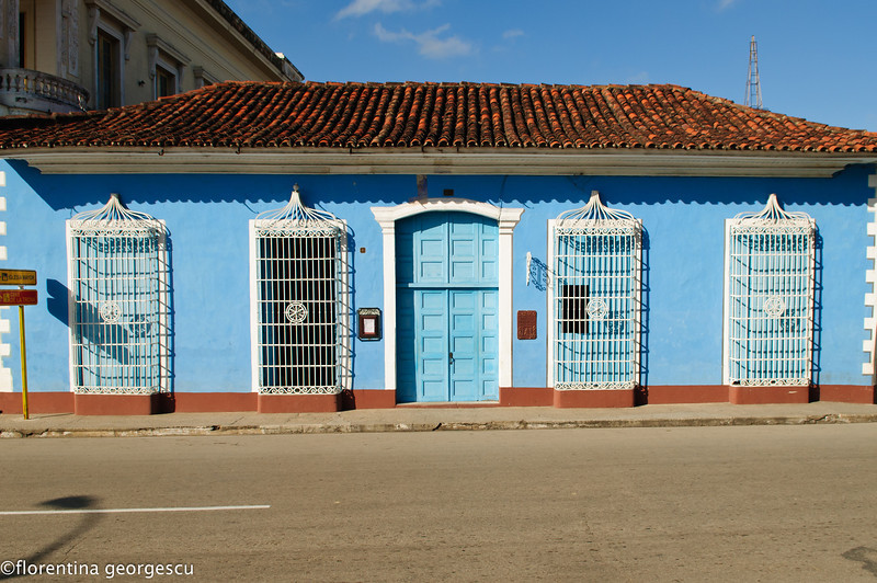 Restored Colonial building in the Parque Serafin Sanchez, Sancti Spiritus, Cuba