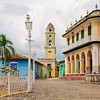 The bell tower of the Antico Convento de San Francisco de Asis and Palacio Brunet in the historic old center of Trinidad, Cuba
