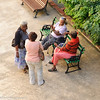 Senior citizens meet and chat in the cloister at Convent of Belen, La Habana Vieja (Old Havana), Cuba