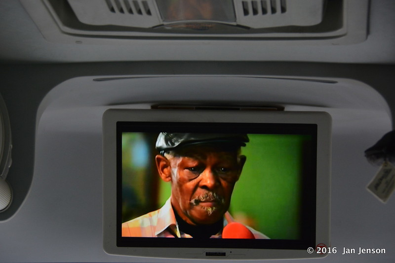 Watching Buena Vista Social Club movie on the bus