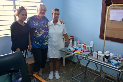 Becky Riley with donations to a clinic in Australia, Cuba  (her 7th year visiting this clinic!)